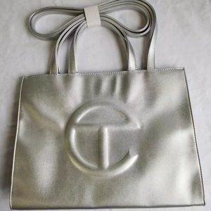 Telfar Medium Silver Shopping Bag